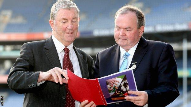 Chairman of Football Review Committee Eugene McGee with GAA president Liam O'Neill