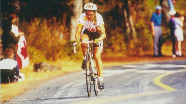 Marie riding for Team Isle of Man in the road race at the 1994 Commonwealth Games in Victoria, Canada