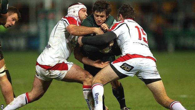 Ulster's Rory Best (left) and Jared Payne stop Northampton's Jamie Elliott in his tracks