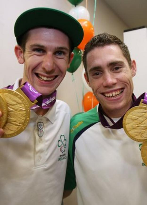 Michael McKillop and Jason Smyth with their Paralympic gold medals