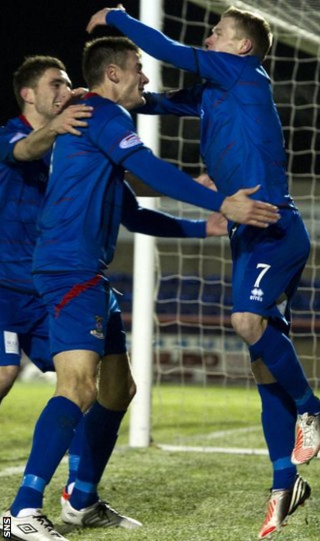 Inverness celebrate McKay's second goal at Caledonian Stadium