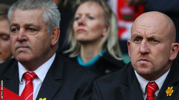 Warren Gatland (left) and Shaun Edwards watch Wales play England at Twickenham in the 2012 Six Nations