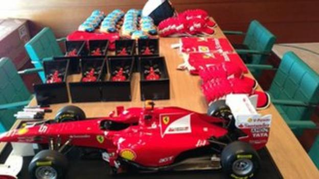 Ferrari gifts on display at an event - tweeted by Fernando Alonso