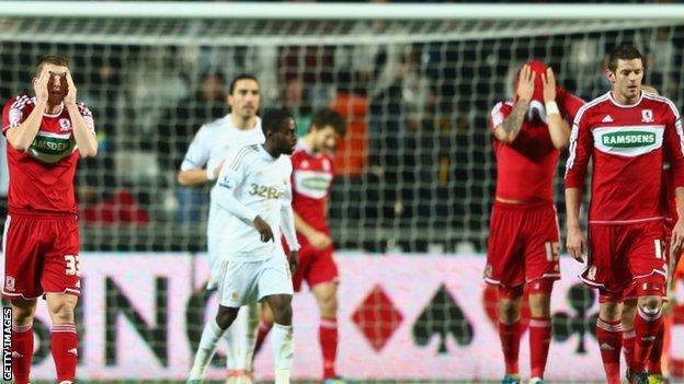 Middlesbrough react in disbelief to Swansea's winner