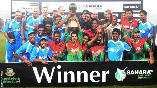 Bangladesh with the one-day series trophy