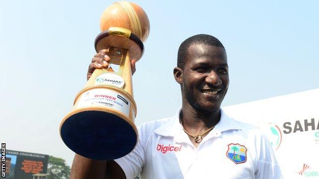 West Indies captain Darren Sammy with the Test series trophy