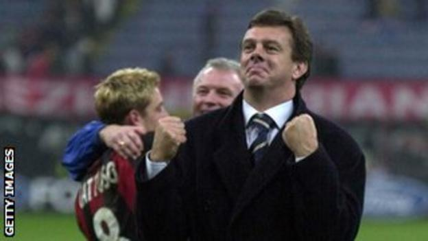 David O'Leary (right) celebrates the 1-1 Champions League draw at AC Milan in 2000