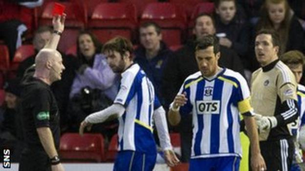 Craig Charleston shows a red card to Jamie Langfield