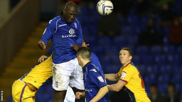 Papa Bouba Diop heads in Birmingham's equaliser against Crystal Palace