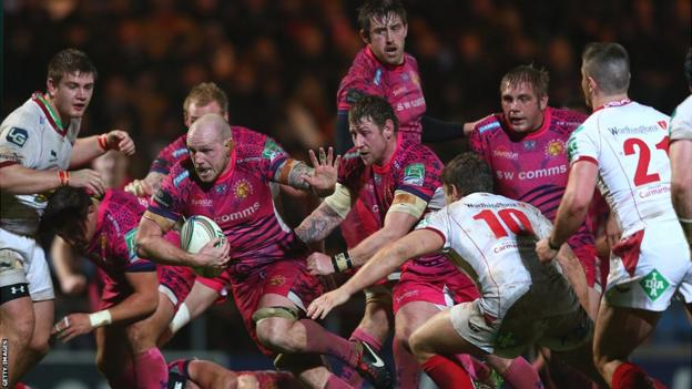 Scarlets fight back to draw level but in the final moments James Scaysbrook powers his way through and Exeter finish as 30-20 victors