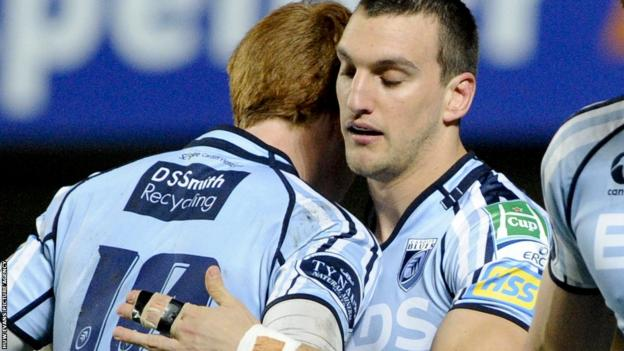 Rhys Patchell congratulates Sam Warburton after the Wales captain's early try gives Cardiff Blues an early lead against Montpellier in the Heineken Cup.
