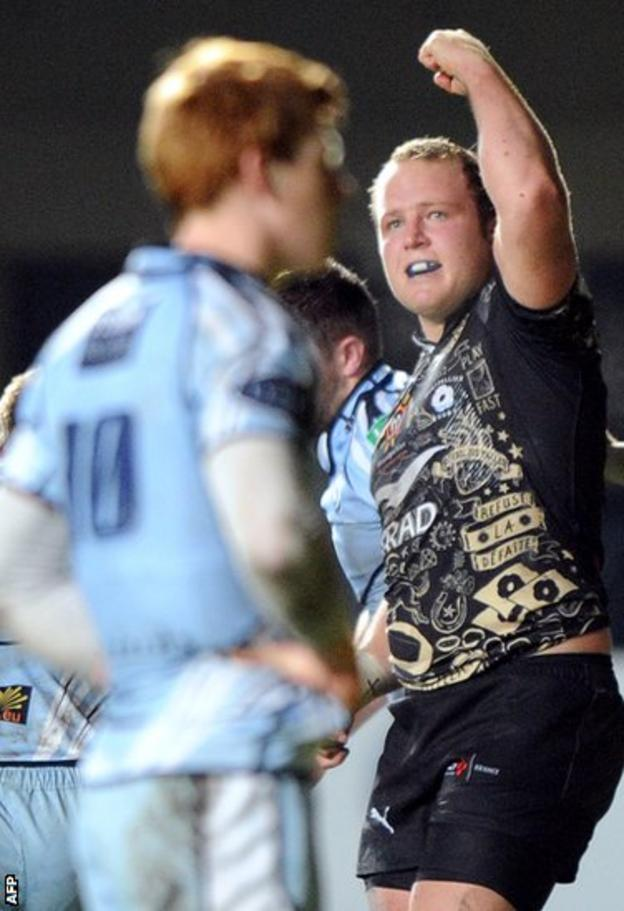Rassie Van Vuuren shows his delight after scoring one of Montpellier's four tries in their 34-21 Heineken Cup win over Cardiff Blues.