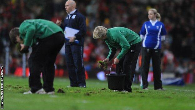 Millennium Stadium pitch repairs take place during Wales' clash against Samoa on November, 2009