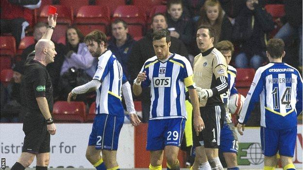 Aberdeen goalkeeper Jamie Langfield is sent off at Pittodrie
