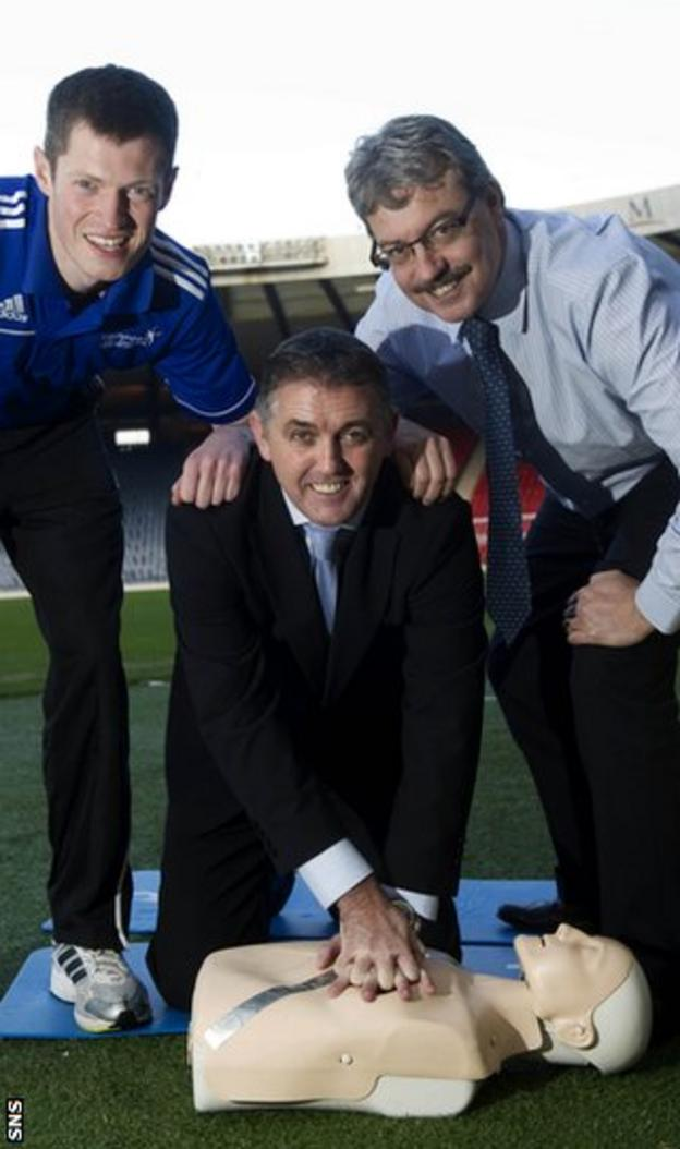 Graeme Jones, of Hampden's Health and Injury Clinic, Owen Coyle and Scottish FA medical officer Dr John MacLean