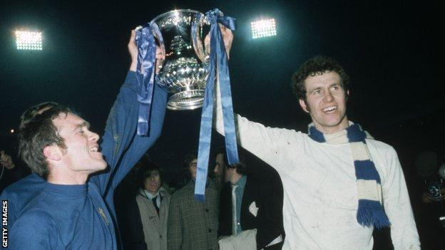 Ron Harris and Peter Osgood celebrate Chelsea's FA Cup triumph in 1970