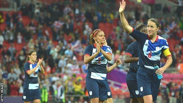 Captain Casey Stoney leads the celebrations after Team GB's 1-0 win over Brazil