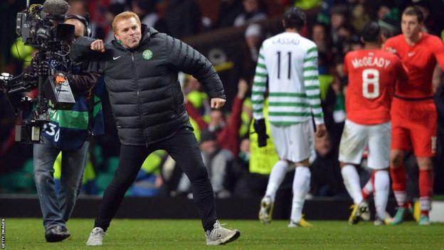 Celtic manager Neil Lennon celebrates reaching the last 16