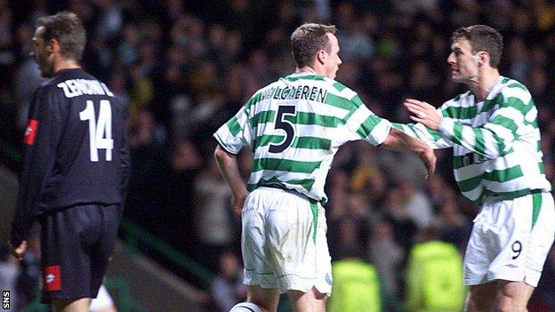 Joos Valgaeren and Chris Sutton celebrate as Celtic beat Juve 4-3 in 2001