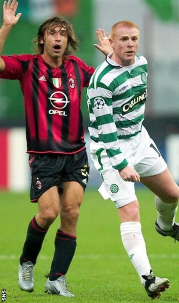 Andrea Pirlo and Neil Lennon in opposition during the Italian's time at AC Milan