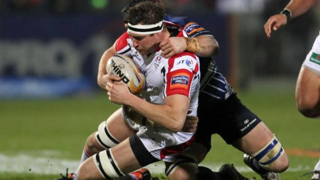 Ulster second row Neil McComb is tackled by Leinster's Sean O'Brien