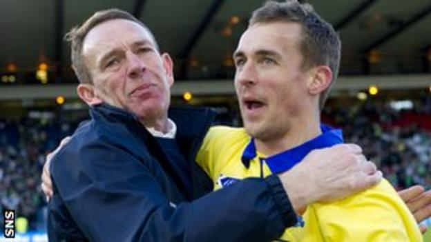 Kenny Shiels enjoys their Hampden victory with midfielder James Fowler