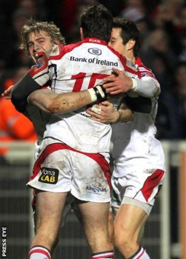 Ulster's Andrew Trimble is congratulated by Jared Payne and Adam D'Arcy after scoring a try