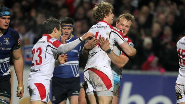 Andrew Trimble celebrates his second-half try against Leinster with Ulster team-mates Adam D'Arcy and Luke Marshall