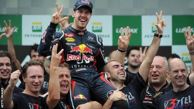 Sebastian Vettel and Red Bull team celebrate winning F1 championship