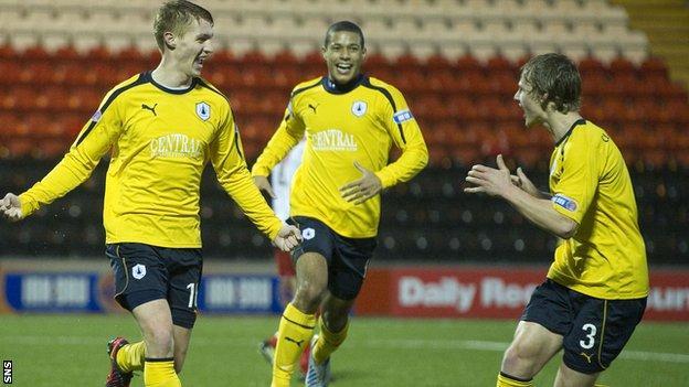 Jay Fulton (left) celebrates his opening goal for Falkirk