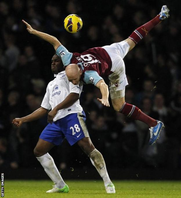 West Ham United's Welsh defender James Collins takes the aerial route as he challenges Everton's Nigerian striker Victor Anichebe in the Premier League