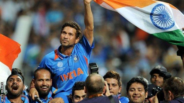 Sachin Tendulkar is carried on the shoulder of India team-mates after they won the World Cup in 2011