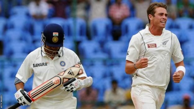 Sachin Tendulkar is dismissed by New Zealand's Tim Southee (right)