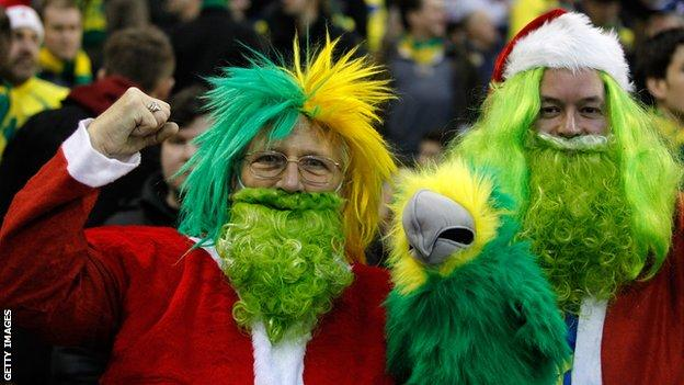 Norwich fans getting into the Christmas spirit