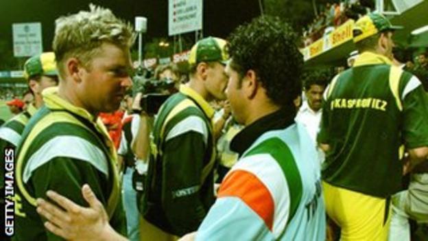 Sachin Tendulkar shakes hands with Shane Warne after India beat Australia in Sharjah in 1998