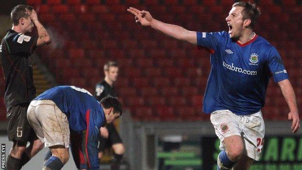 Mark McAllister celebrates scoring against Glentoran on Boxing Day
