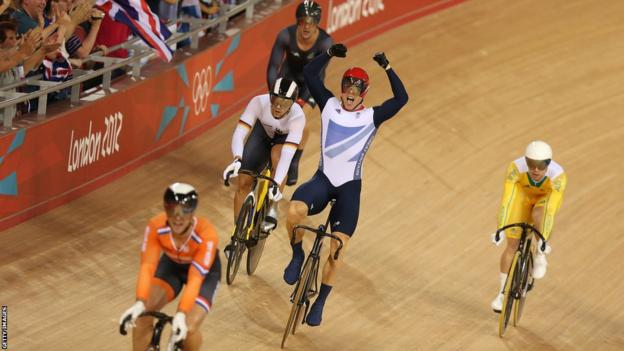 Sir Chris Hoy wins gold at the men's keirin track cycling final on Day 11 of the London 2012 Olympic
