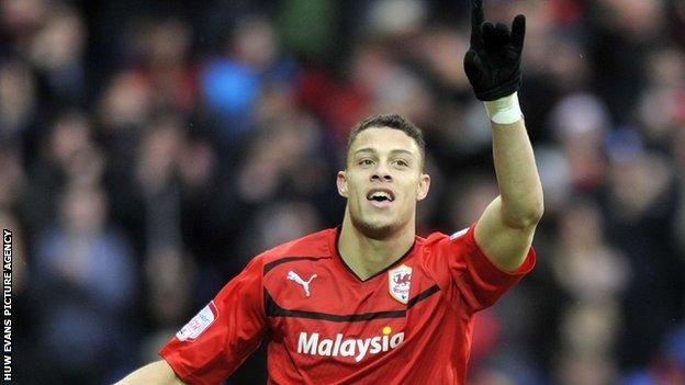 Cardiff's Rudy Gestede celebrates scoring the first goal