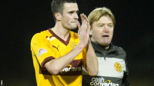 Jamie Murphy is encouraged onto the park by manager Stuart McCall