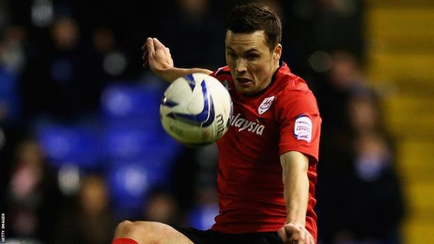 Don Cowie is a picture of concentration for Cardiff