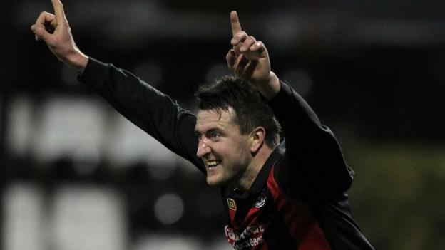 Crusaders full-back Gareth McKeown celebrates after scoring the only goal in the game against Portadown