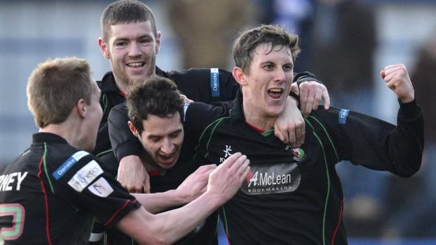 Marcus Kane celebrates after his superb strike puts Glentoran ahead against Coleraine at the Showgrounds