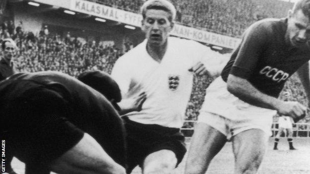 Lev Yashin saves from Derek Kevan for USSR against England, (Gothenburg, World Cup, 1958)