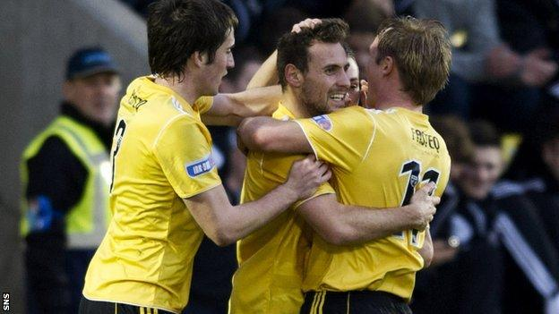 Anthony Andreu is congratulated by team mates after levelling the scoreline for Livingston