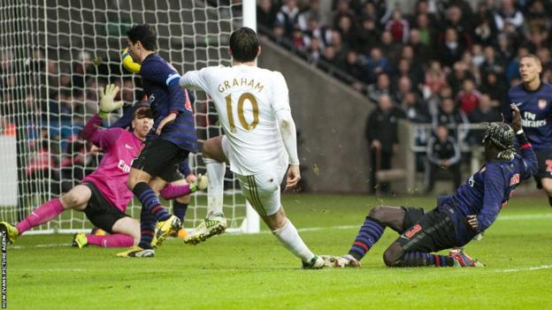 With time running out Danny Graham grabs a Swansea equaliser to earn a replay back at Arsenal