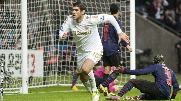 Danny Graham celebrates his goal against Arsenal