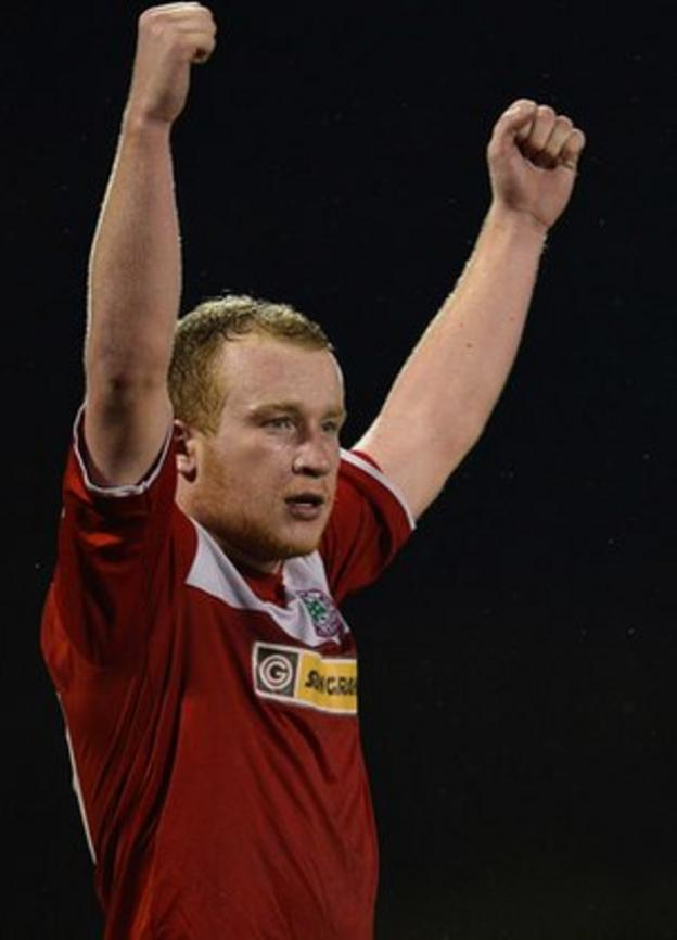 Liam Boyce celebrates after making it 3-1 to Cliftonville