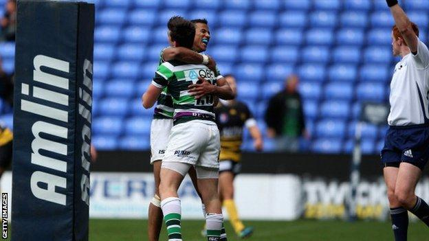 Jack Moates is congratulated by team-mate Anthony Watson