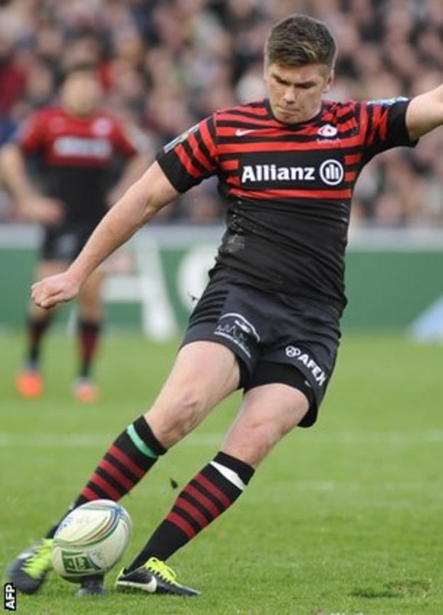 Owen Farrell lands a kick for Saracens in the win over Racing Nantes