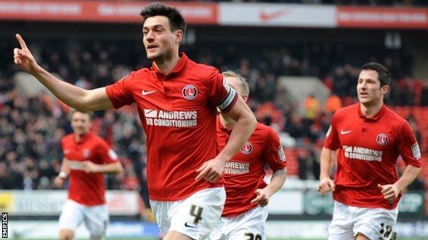 Johnnie Jackson celebrates after putting Charlton ahead